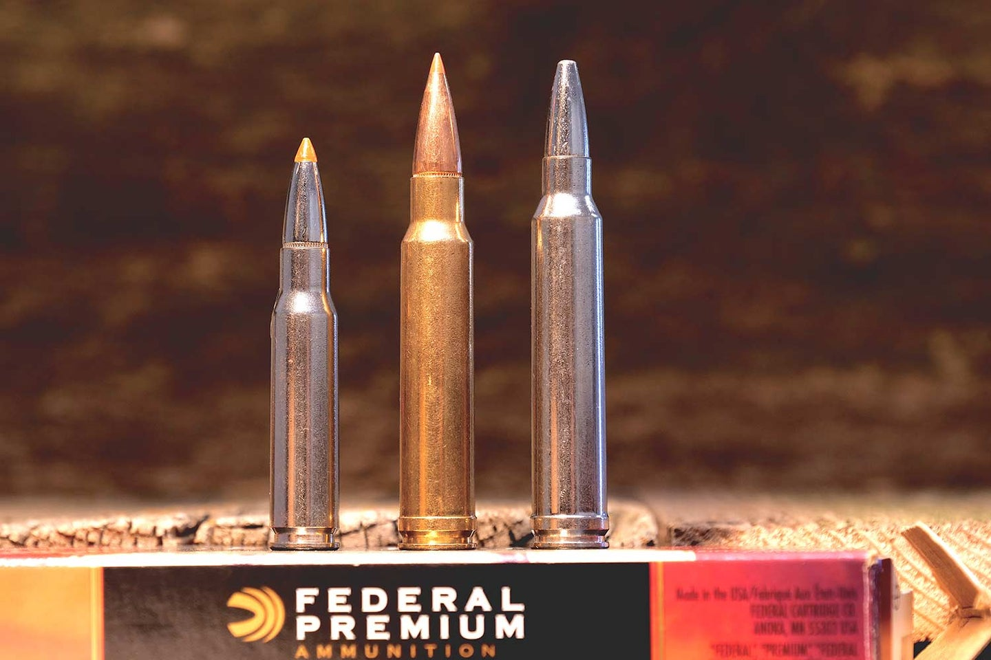 A lineup of .308 Win., .338 Win. Mag., .300 Win. Mag.