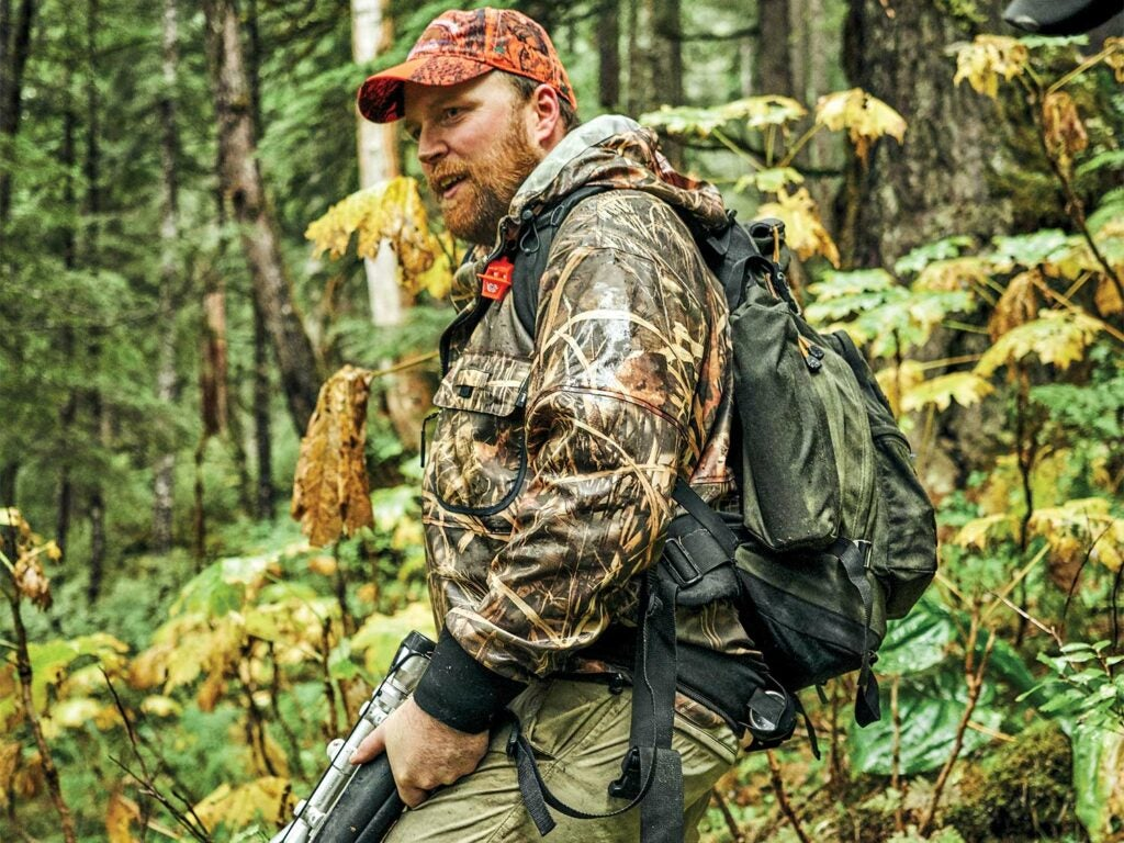 Hunter taking a break in Tongass National Forest.