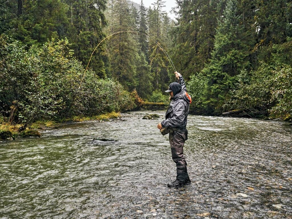 Angler fishing in the Tongass National Forest.