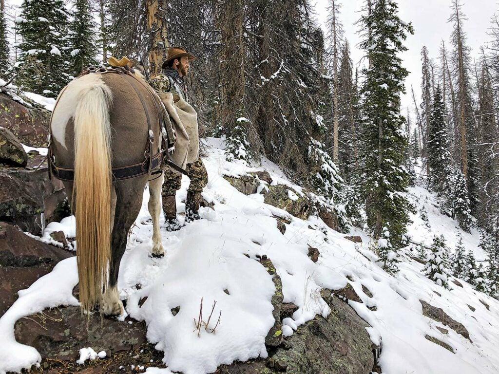 Von Benedikt and his paint, Comanche, take a break mid-climb.