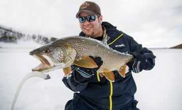 Use Big Baits to Catch Giant Lake Trout Through The Ice