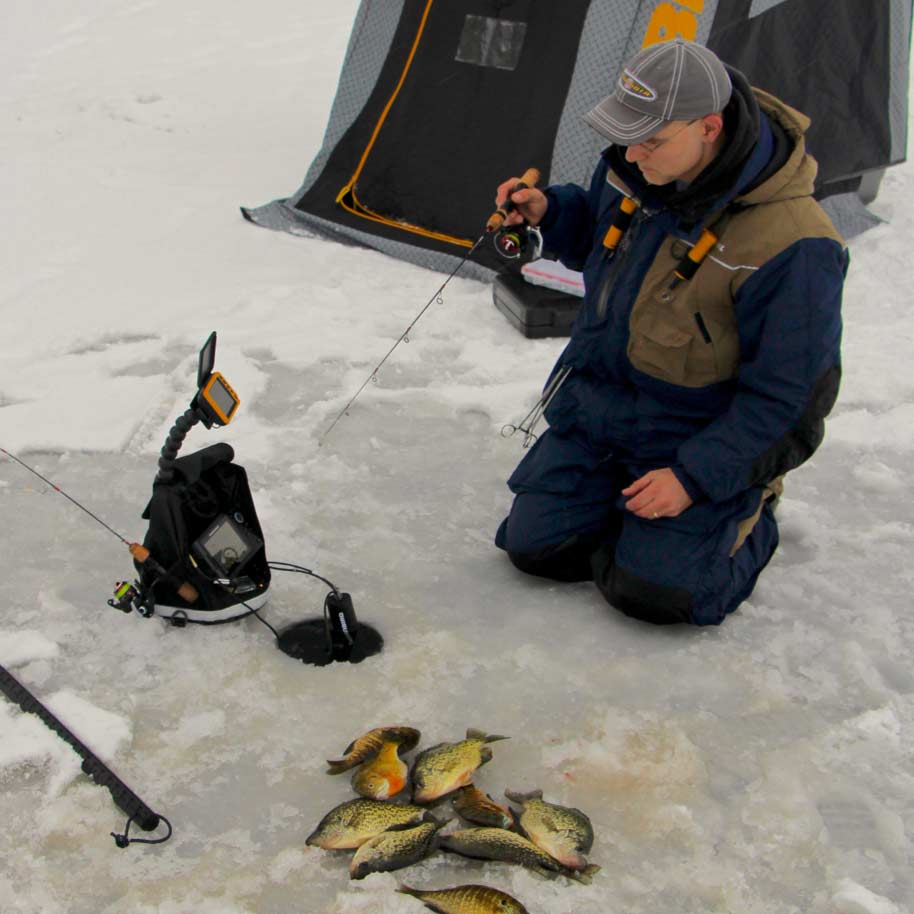 An angler ice fishing for bluegill.