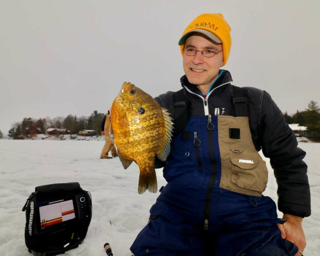 Angler holding up a mid-sized bluegill.