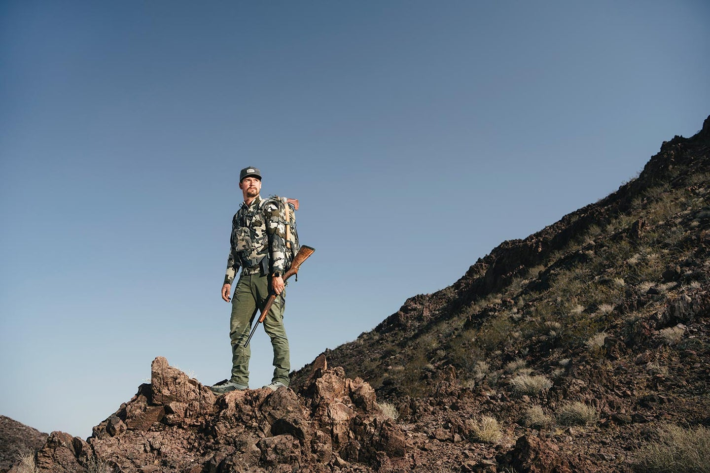 The author in his element—the desert mountains of Southern California.