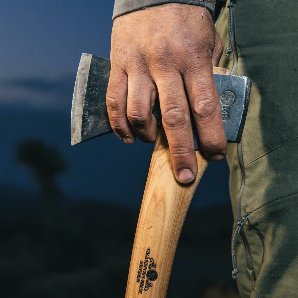 An all-purpose camp axe.