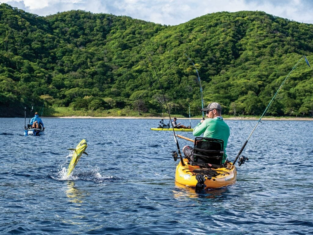Lance Clinton fishing for bull dorado in Costa Rica.