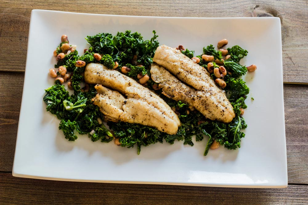 Butter Basted Walleye with Kale and Black-eyed Pea Salad