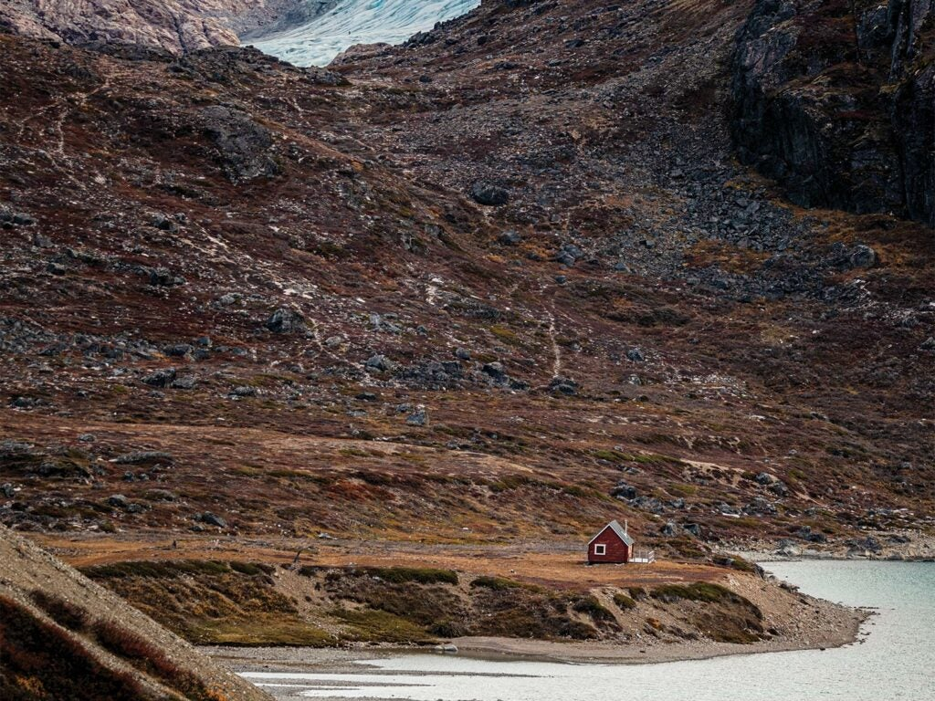 A lone hunting cabin in Greenland.