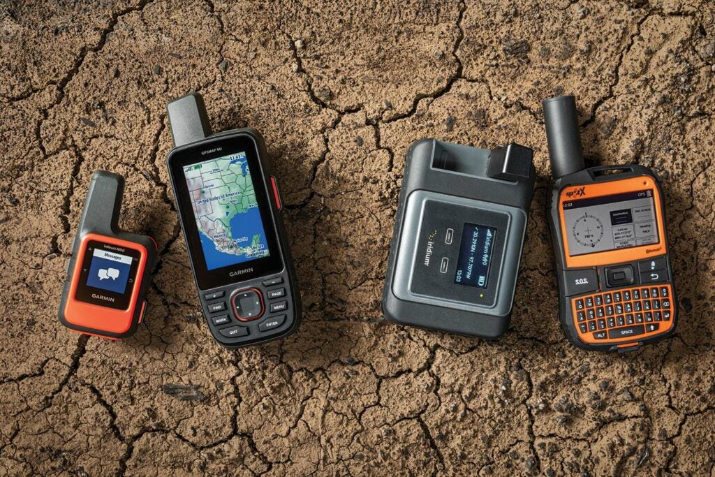 Garmin inReach Mini, Garmin GPSMAP 66i, Iridium Go!, and SpotX Communicator.