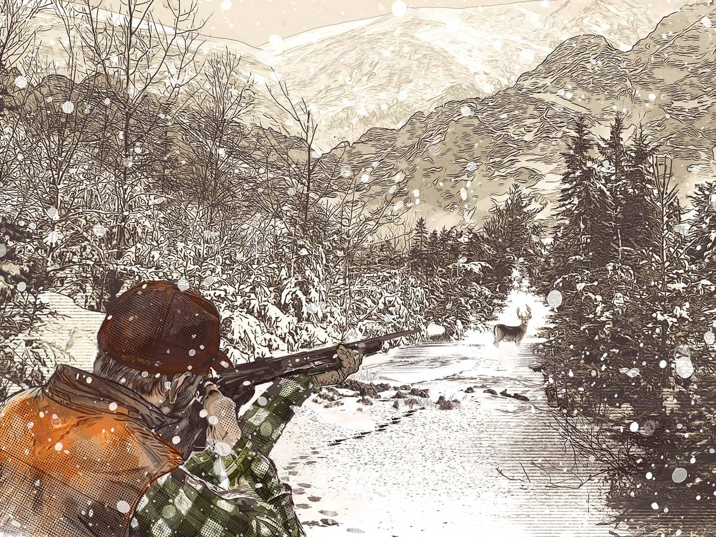 Illustration of a hunter aiming a rifle at a deer in the snow.