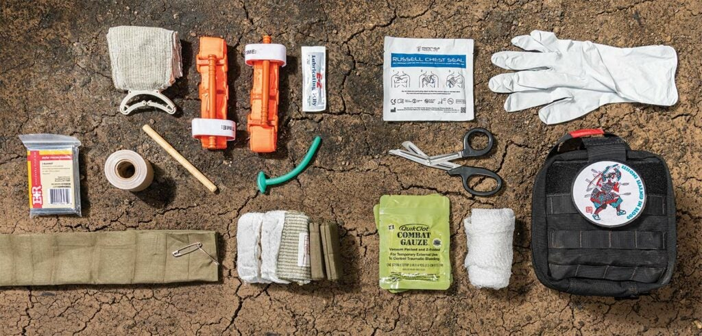 Collection of first aid kit gear.