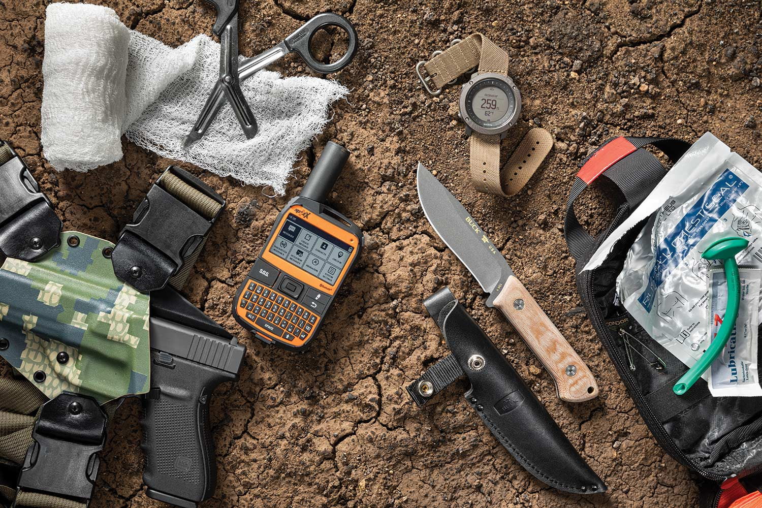 Critical survival gear all ready for action.