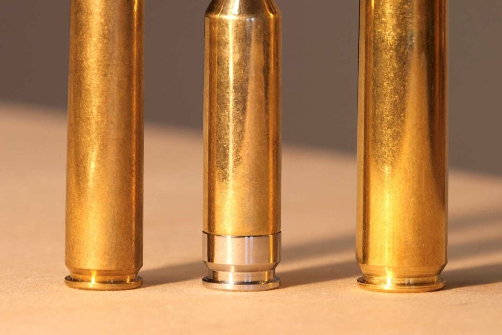 The base of three rifle ammo bottoms.