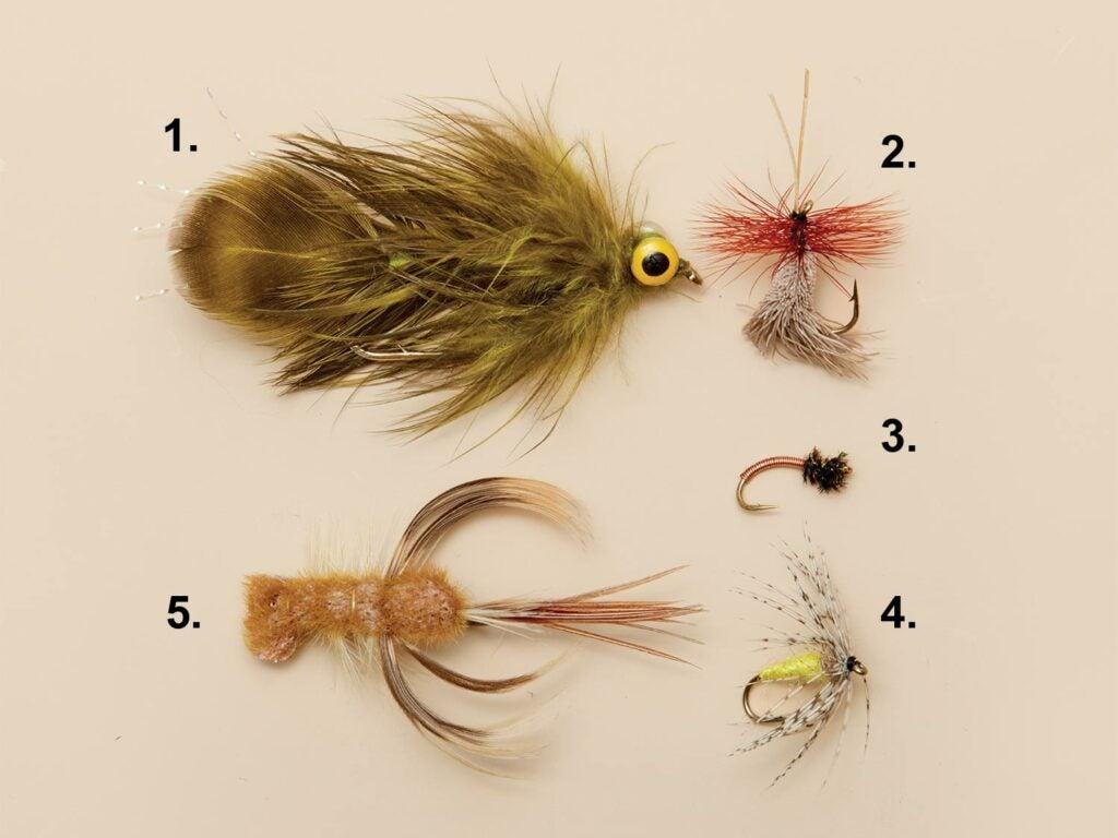 5 old school trout flies.
