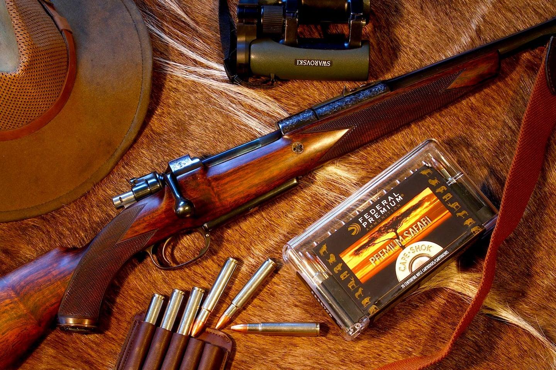A vintage .416 rigby rifle.