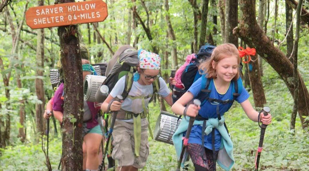 children hiking at the Mountain Shepherd Adventure School