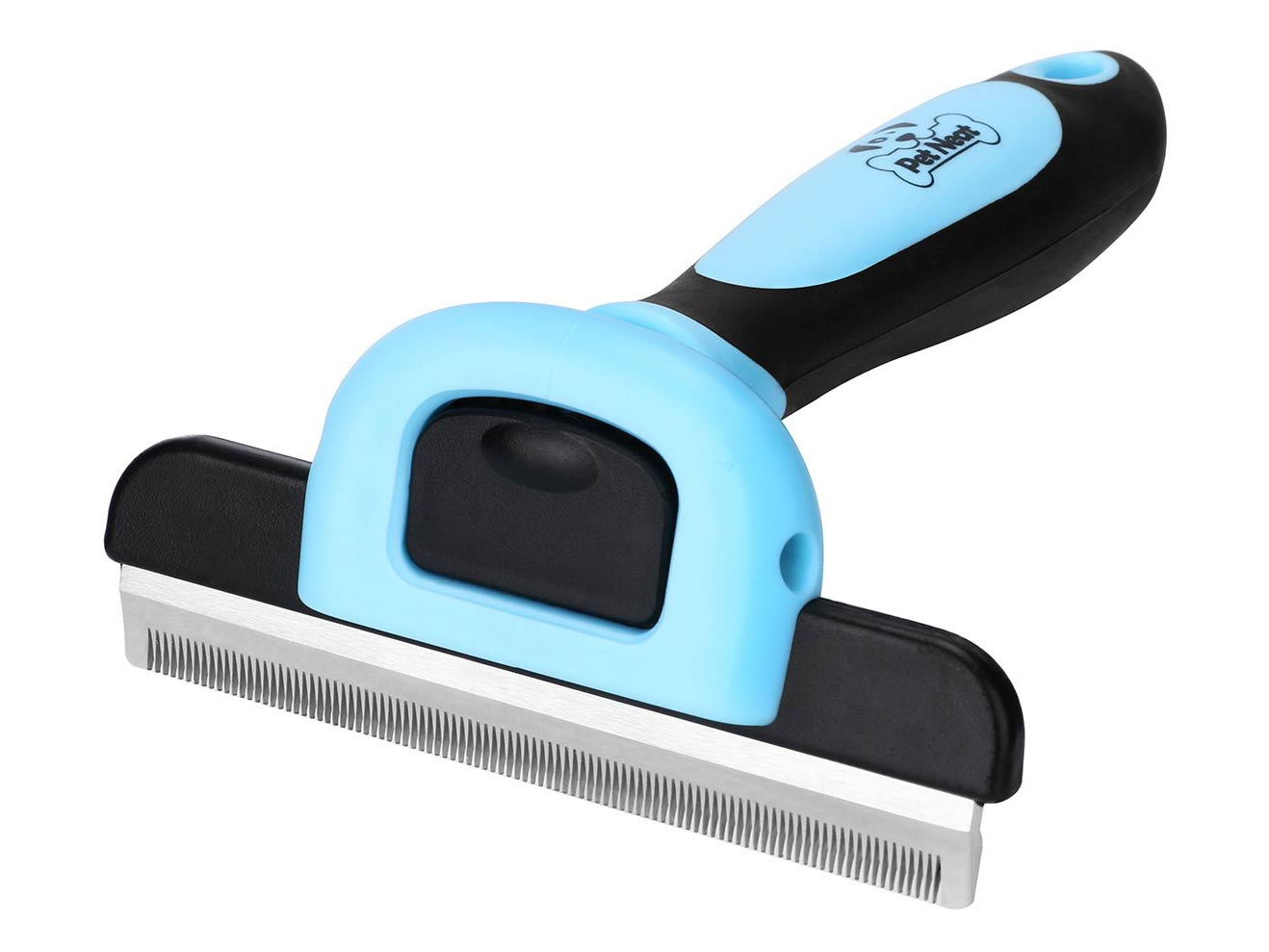A blue pet-grooming fine-toothed brush.
