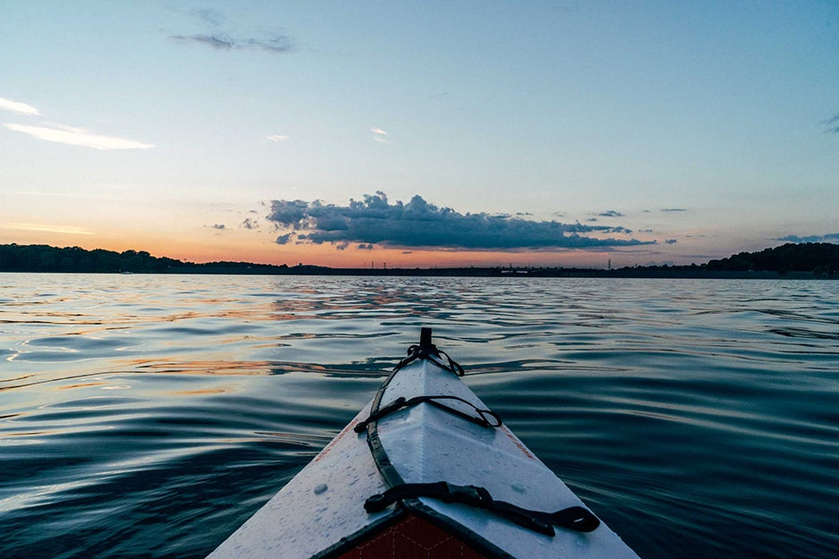 view of a kayak on a lake.