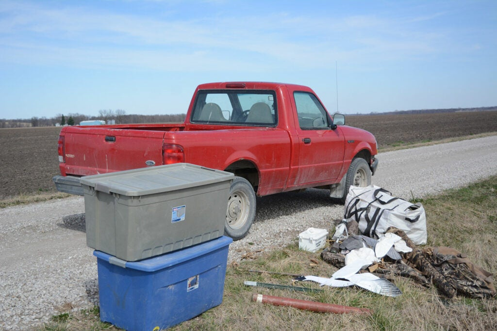 A hunting truck and and mats