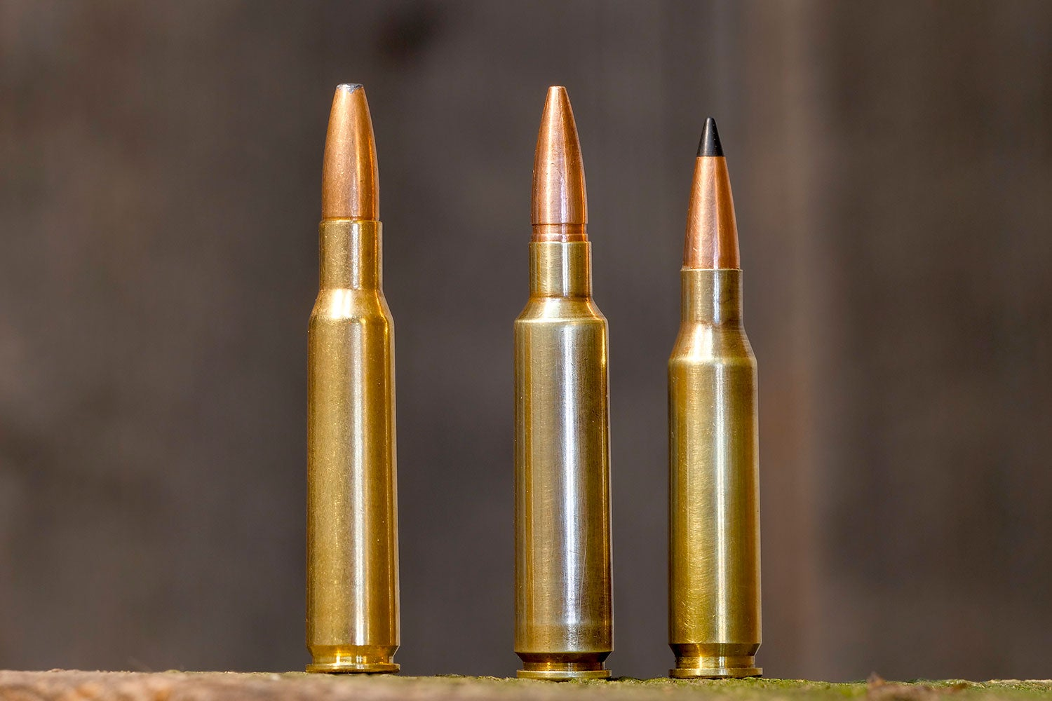 The 7x57, .284, and 7mm-08 sided by side by side.