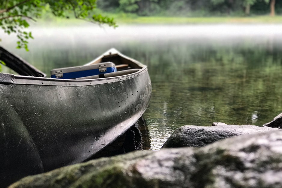 A canoe on the river