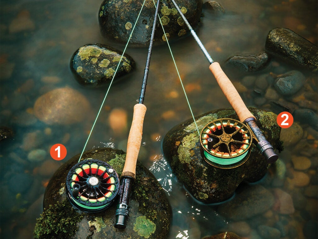 Fly rod and reel combos in a stream.