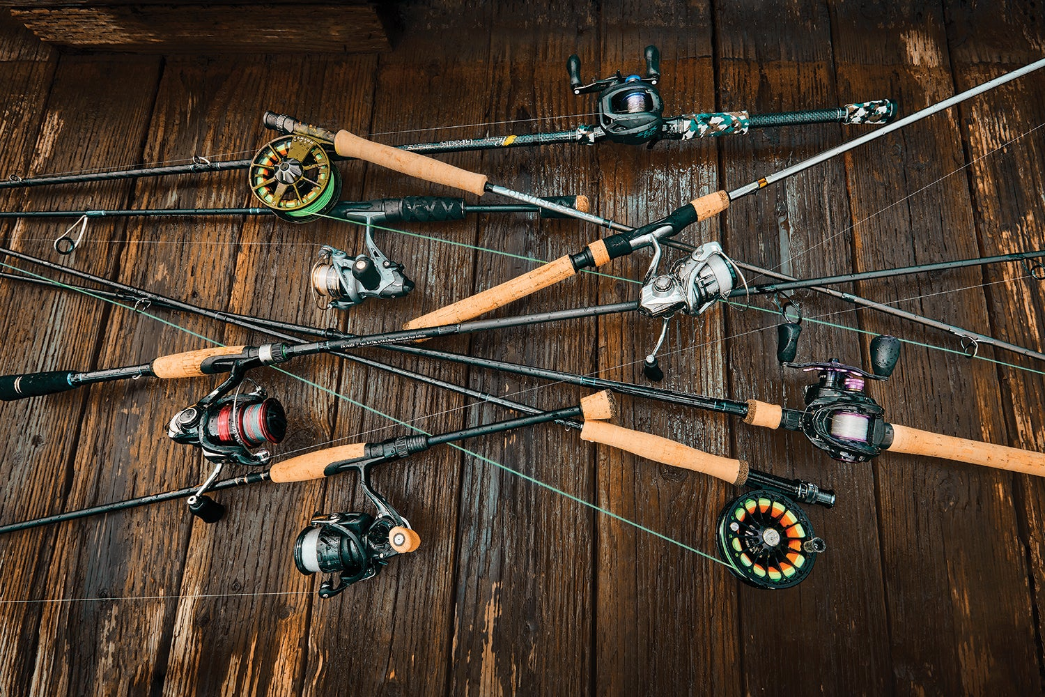 A sampling of fishing rods and reels.