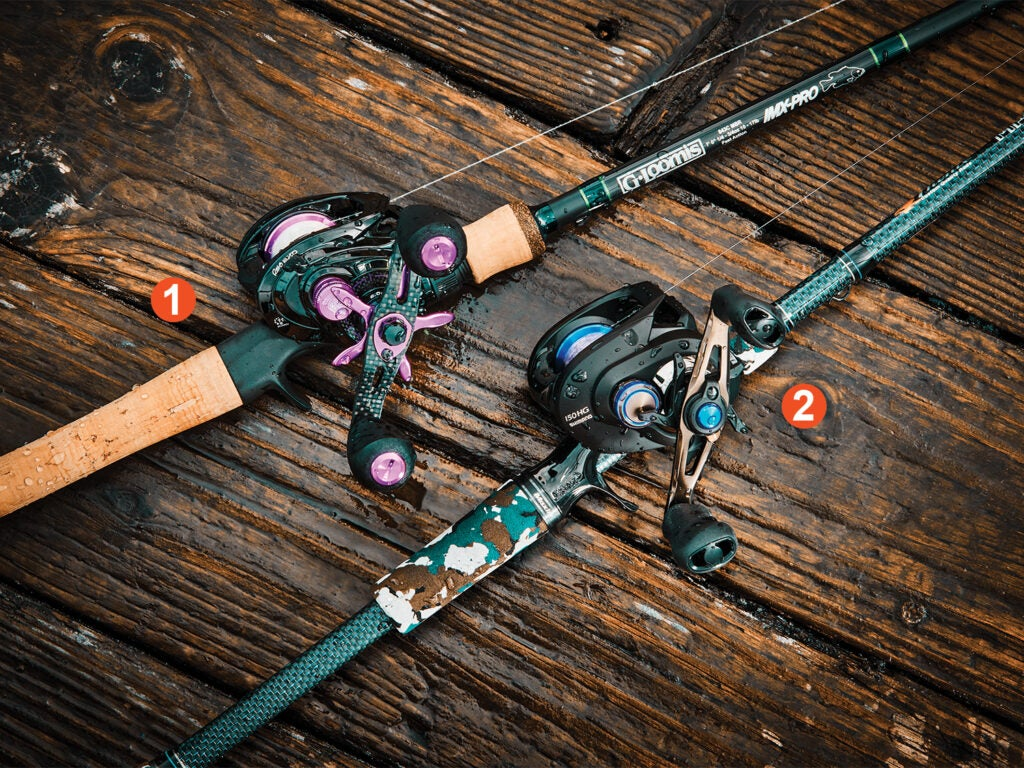 Baitcasting rods and reels on a deck.