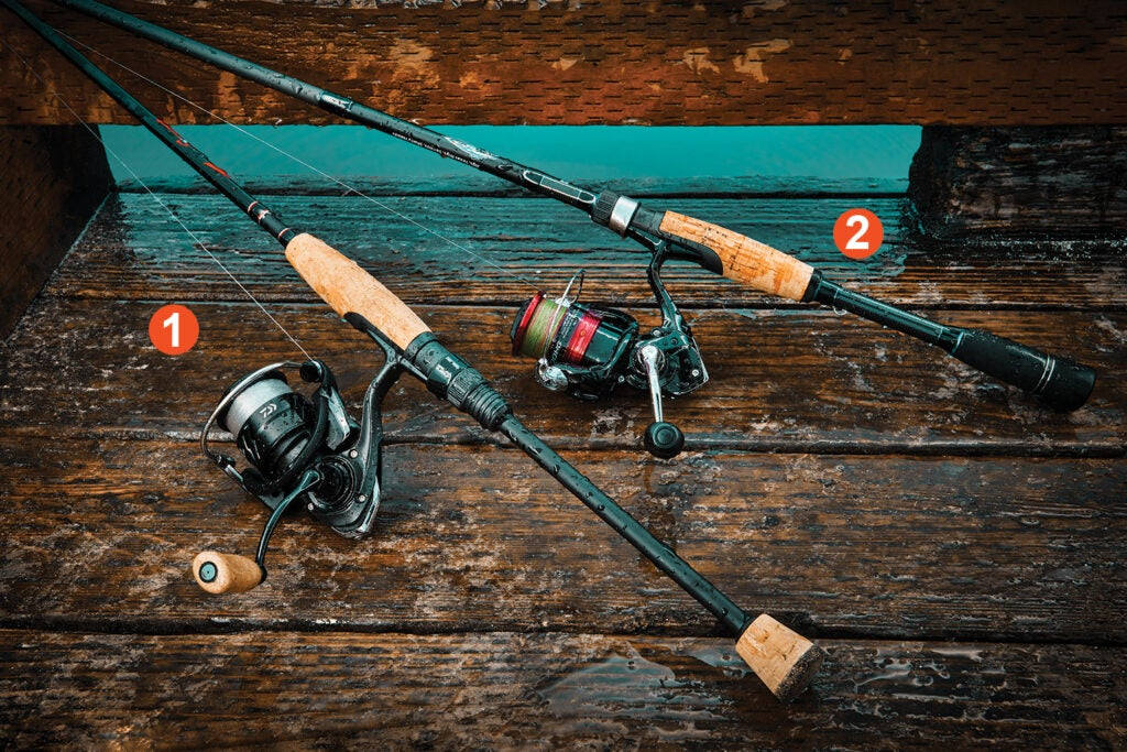 Spinning rod and reel combos on a deck.