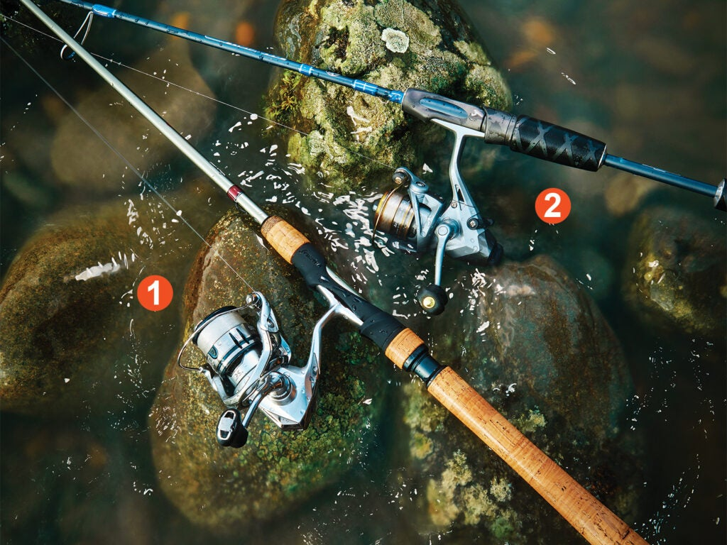Ultralight fishing rods and reels in a stream.