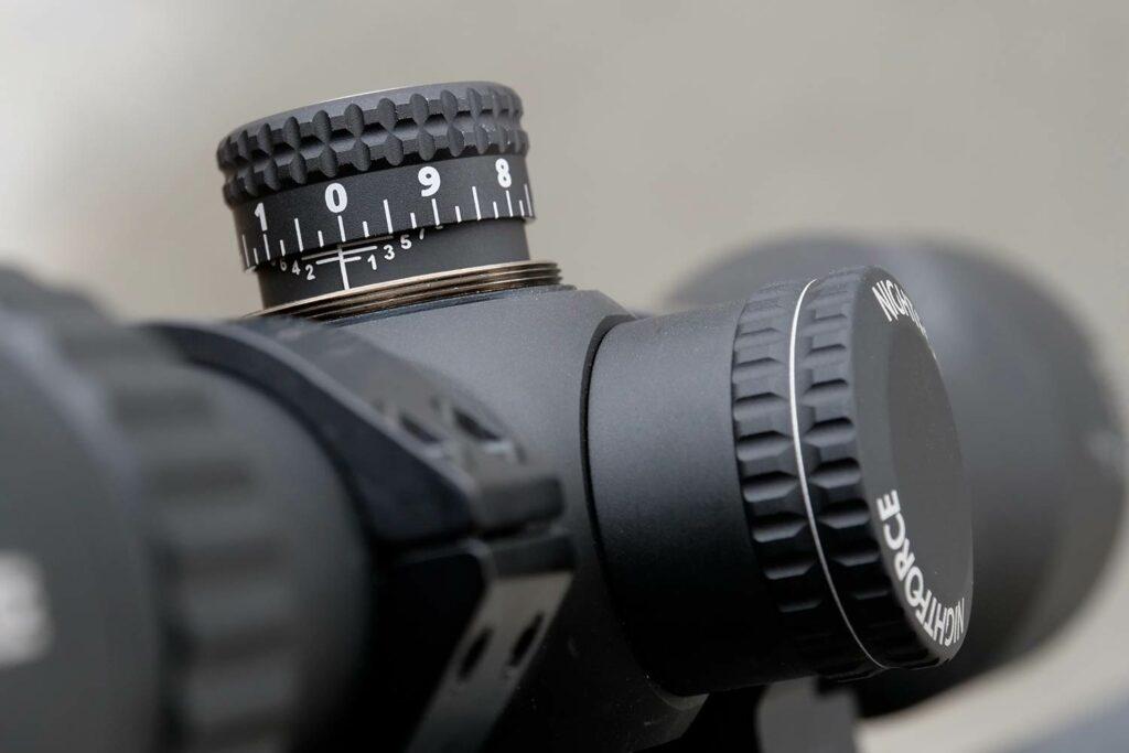 knob adjustments on a riflescope.