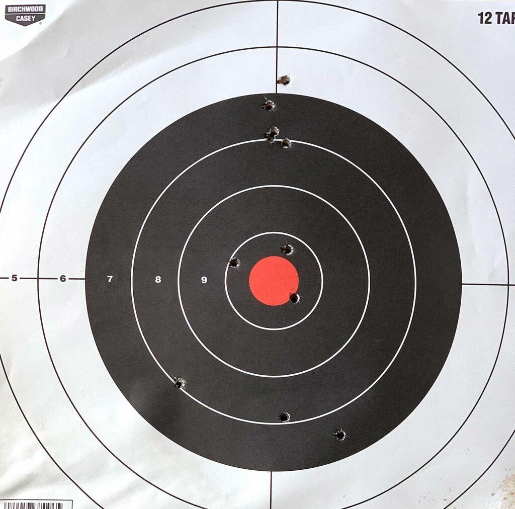 long range shot groups on a target.