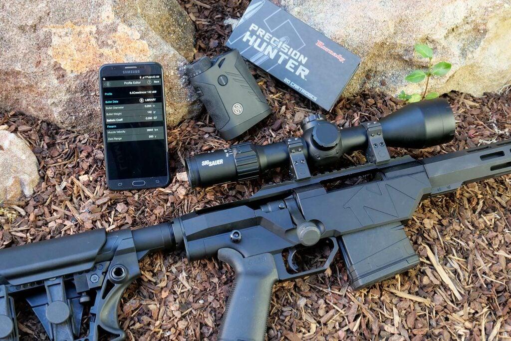 long range shooting rifle on the ground.