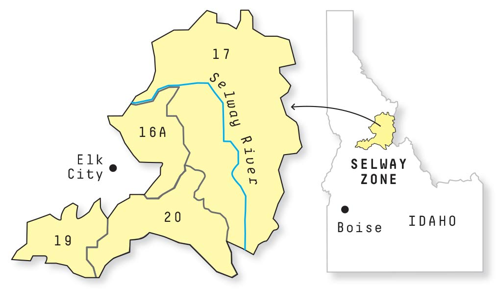 Map of Idaho's Selway Zone.