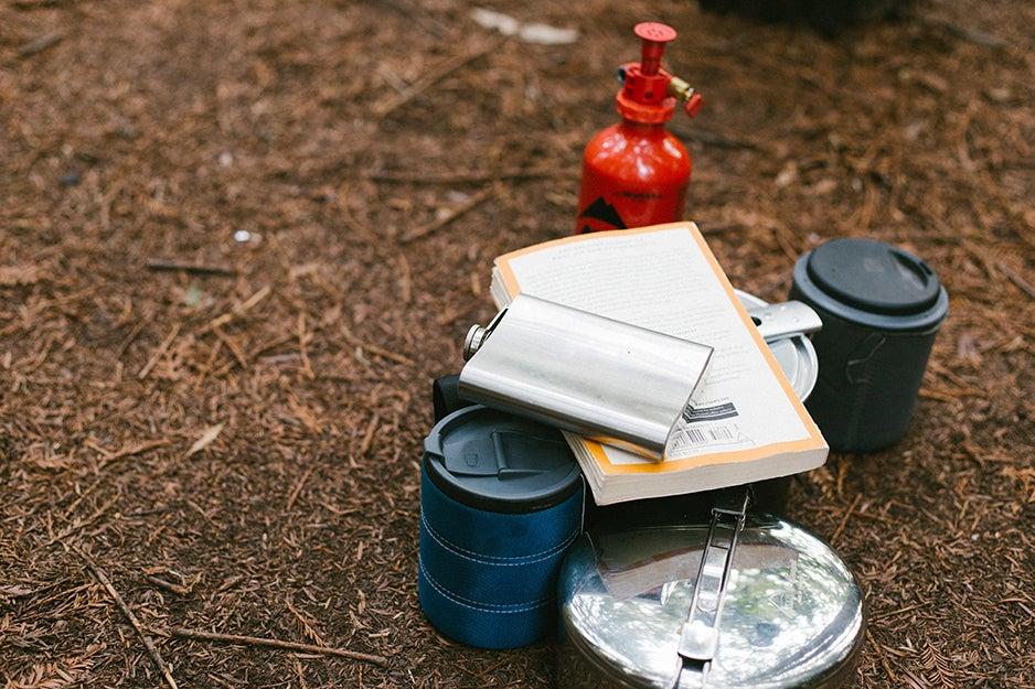 Outdoor camping gear setup.