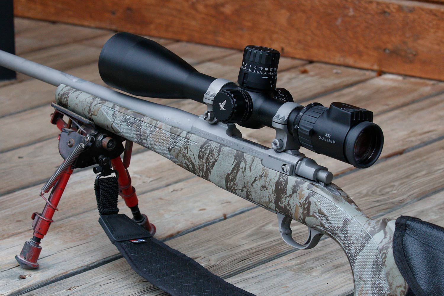 A Swarovski rifle and scope.