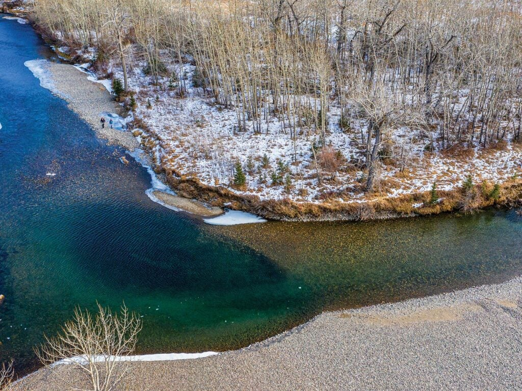 Aerial view of the Boulder River in Montana
