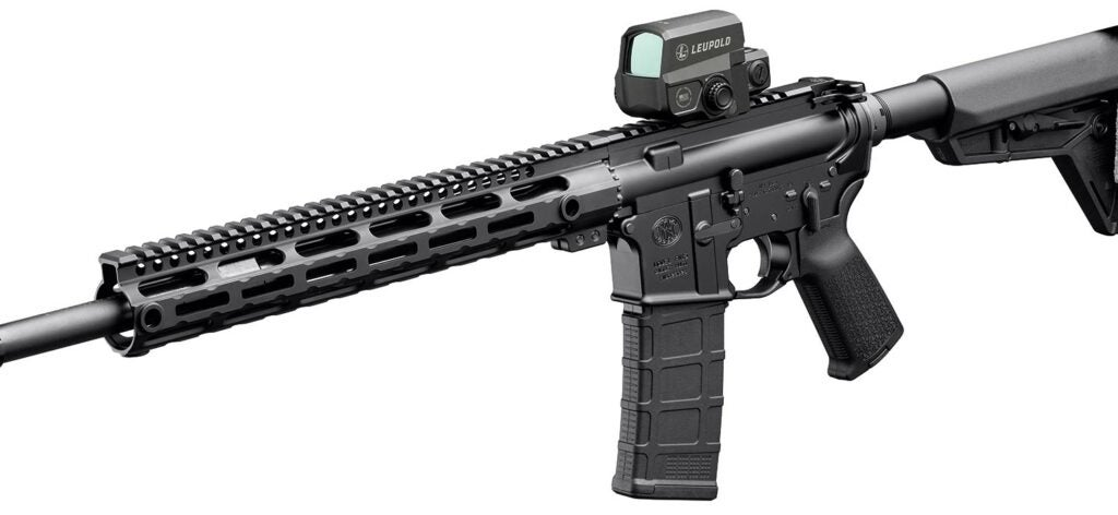 AR pistol fitted with a Leupold LCO red-dot sight