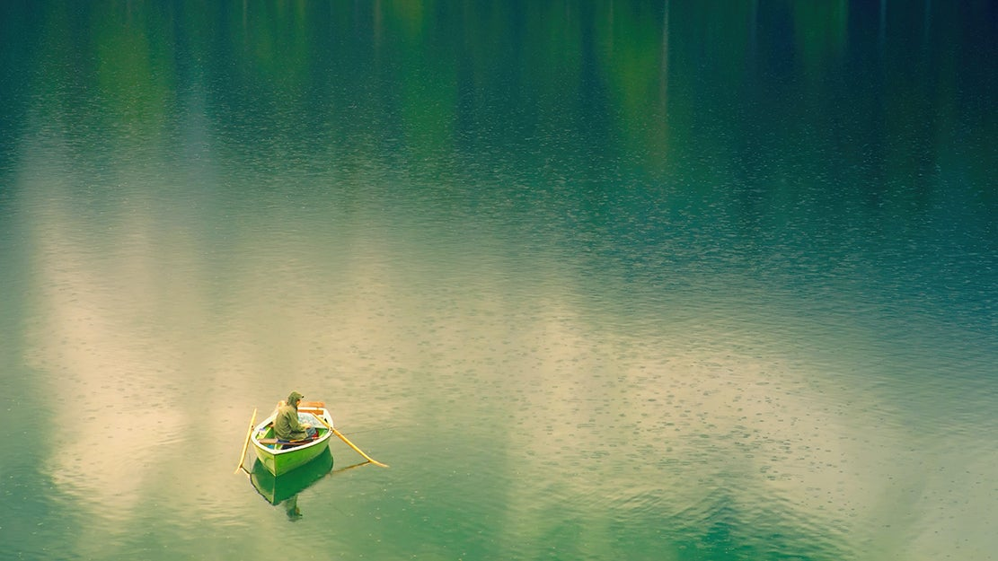 person in a fishing boat