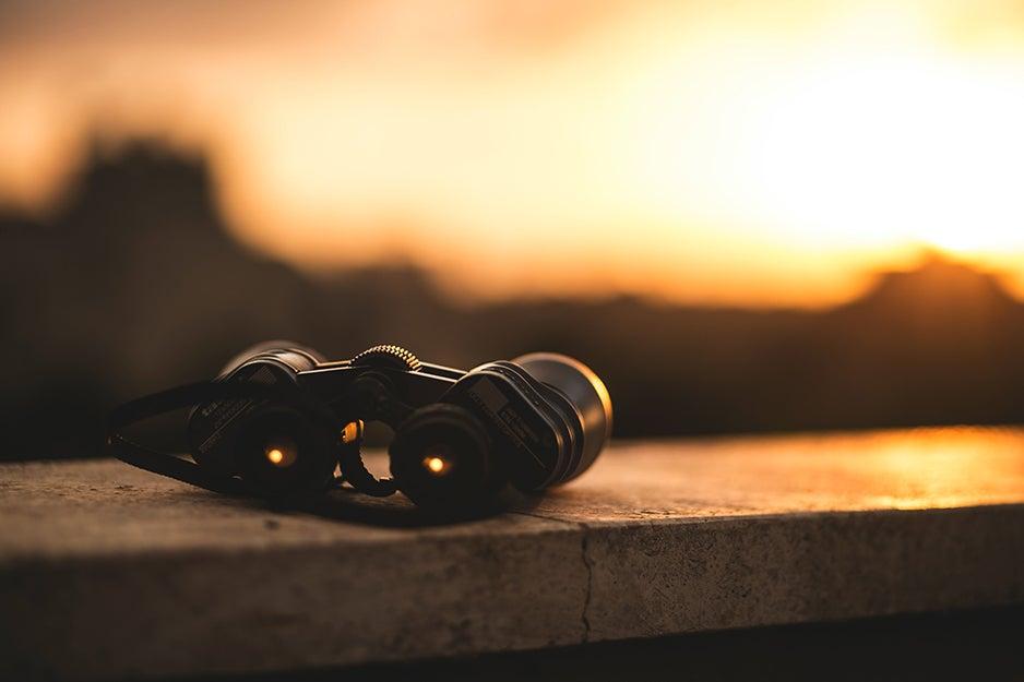 binoculars on a ledge