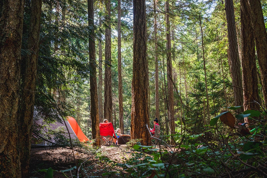 family sitting near tents in the woods