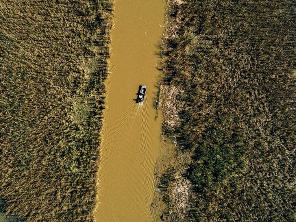 Aerial view of a boat on a swamp river.