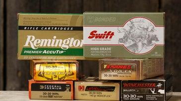 Boxes of 30-30 rifle ammunition.