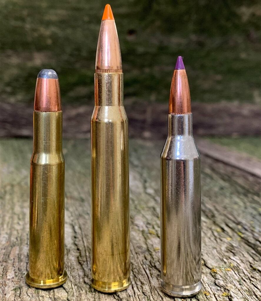line up of rifle ammo.