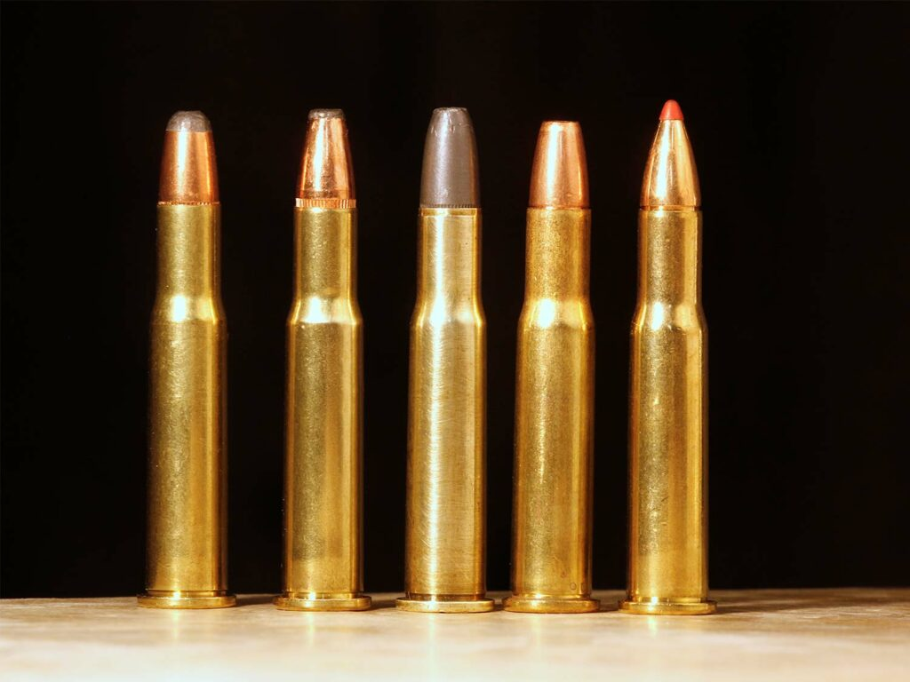 A lineup of rifle ammo.