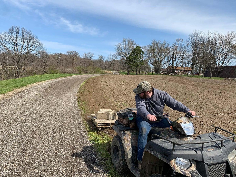 A man tilling a field