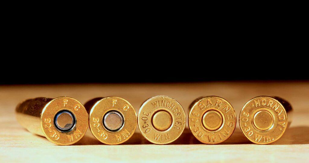Headstamps of 30-30 rifle ammuniton.
