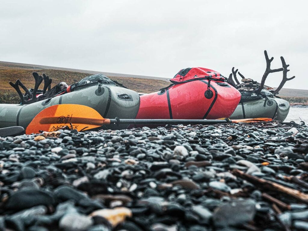 Rafts in Alaska hunting.