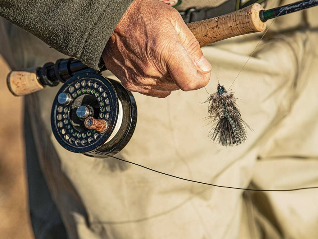 Angler tying a fly streamer on a line.