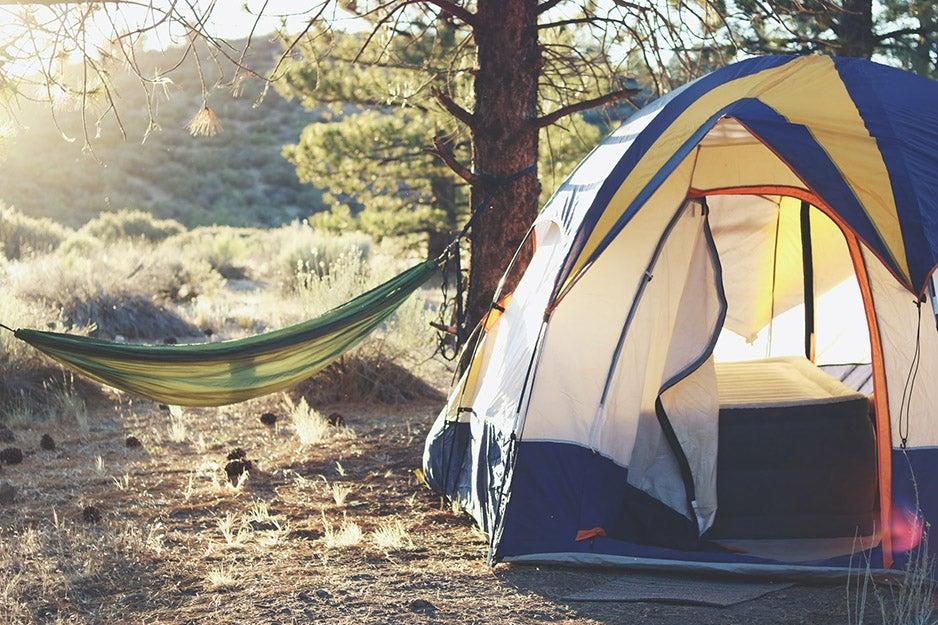 camping tent and hammock